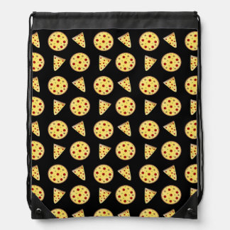 Black pizza pattern drawstring bag