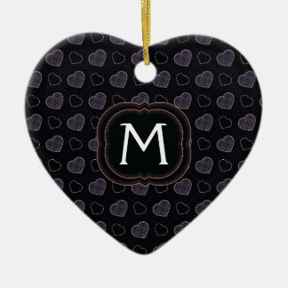 Black Plaid Hearts Pattern With Initial Christmas Ornament