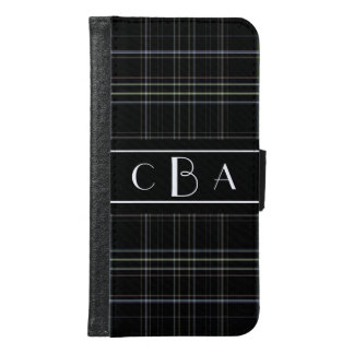 Black Plaid Monogrammed Samsung Galaxy S6 Wallet Case