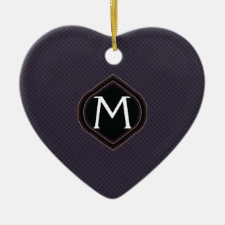 Black Plaid Pattern With Initial Christmas Ornament
