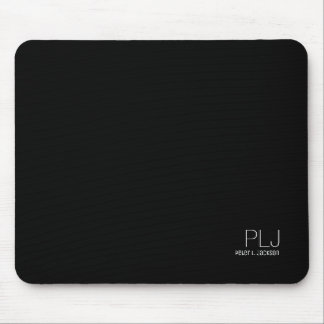 black plain color with name, simple & basic mouse mat