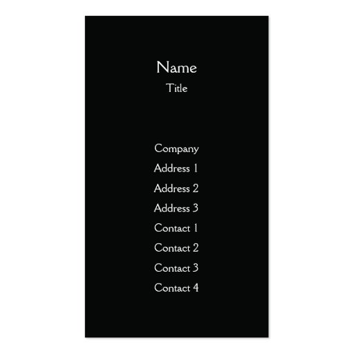 Black Plain Vertical - Business Pack Of Standard Business Cards