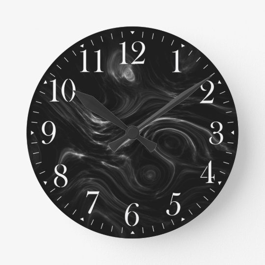 Black Plasma Energy Abstract Art Wall Clock