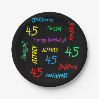 Black Plates, 45th Birthday Party, Repeating Names 7 Inch Paper Plate