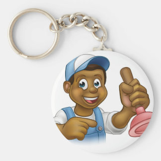 Black Plumber Handyman With Punger Cartoon Man Key Ring