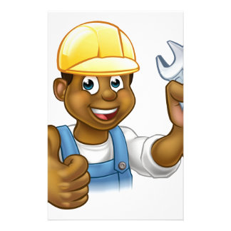 Black Plumber Mechanic or Handyman Stationery