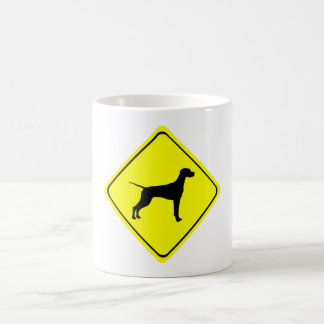 Black Pointer Dog Silhouette Caution Crossing Sign Mugs
