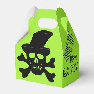 Black Poison Skull and Crossbones Favor Boxes