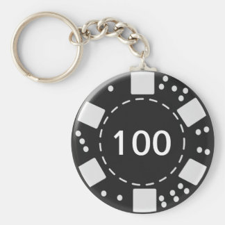 Black Poker Chip Basic Round Button Key Ring