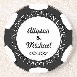 Black poker chip lucky in love wedding anniversary coaster