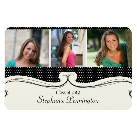 Black polka dot 3 photo custom graduation magnet