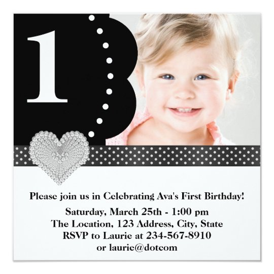 Black Polka Dot Girls Photo 1st Birthday Party