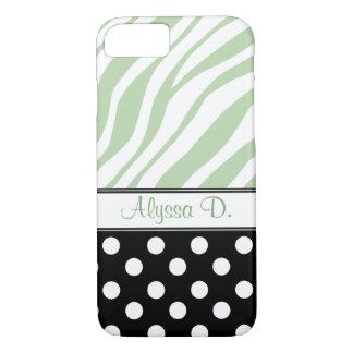 Black Polka Dot Green Zebra Print iPhone 7 Case