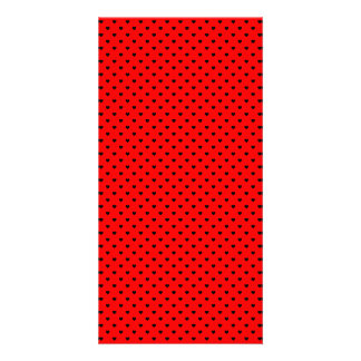 Black Polka Dot Hearts on Red Background Photo Card Template