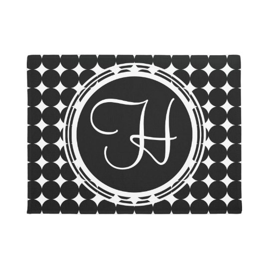 Black Polka Dot Monogram Doormat