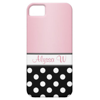 Black Polka Dot Pink iPhone 5 Case
