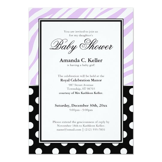 Black Polka Dot Purple Zebra Print Baby Shower Card