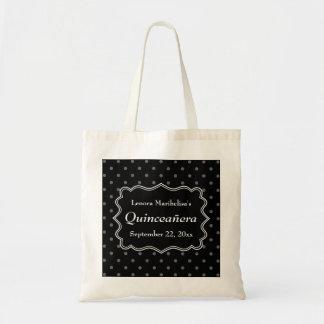 Black Polka Dot Quinceanera Tote Bag
