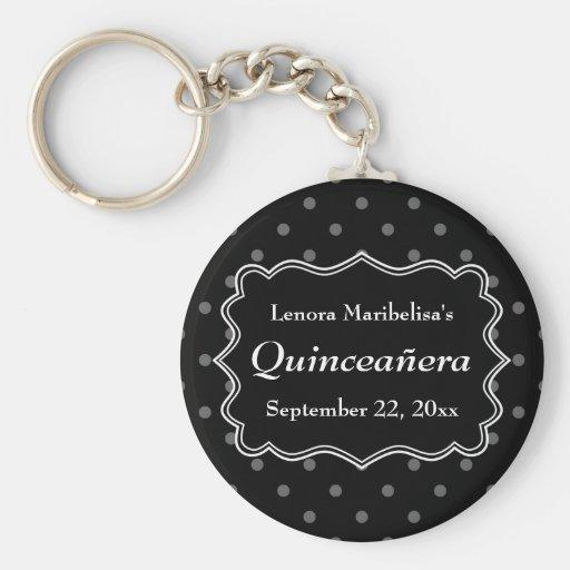 Black Polka Dot Quinceanera Key Chains