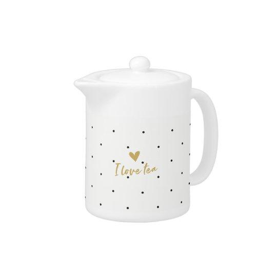 "Black Polka Dot Tea Pot Small ""I Love"