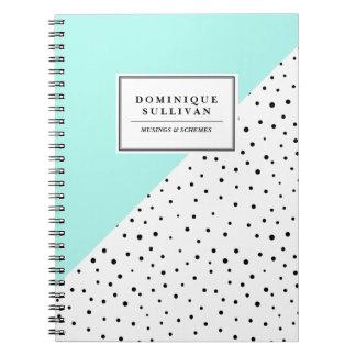 Black Polka Dots Aqua Abtract Pattern Personalized Spiral Notebook