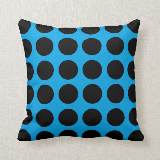 Black Polka Dots Blue Cushion