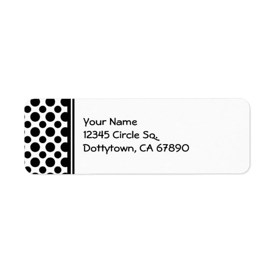 Black Polka Dots Custom Return Address Label