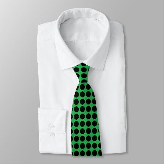 Black Polka Dots Green Tie