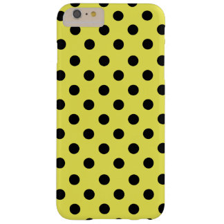 Black polka dots in yellow barely there iPhone 6 plus case