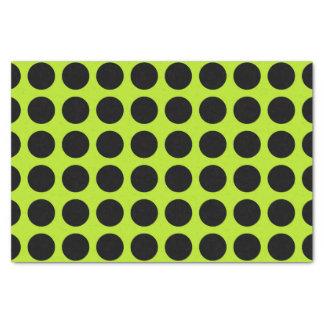 Black Polka Dots Lime Green Tissue Paper
