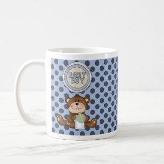 Black Polka Dots on Blue with Teddy Bear Basic White Mug