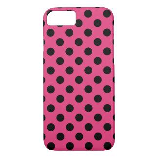 Black polka dots on fuchsia iPhone 7 case