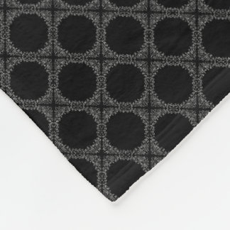 Black Polka Dots On Gray Retro Pattern Fleece Blanket