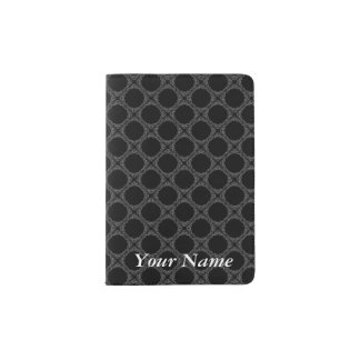 Black Polka Dots On Gray Retro Pattern Passport Holder