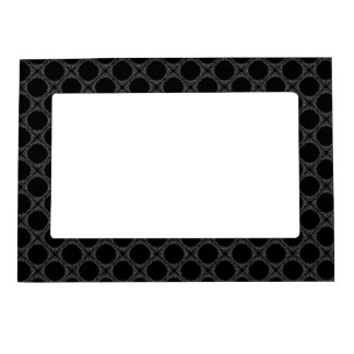 Black Polka Dots On Grey Retro Pattern Frame Magnets