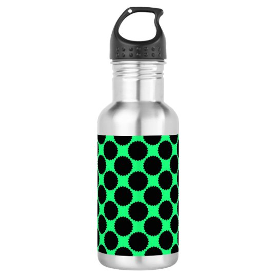 Black Polka Dots On Kiwi Green 532 Ml Water Bottle