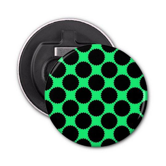Black Polka Dots On Kiwi Green Bottle Opener