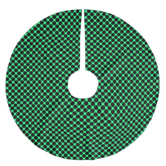 Black Polka Dots On Kiwi Green Brushed Polyester Tree Skirt