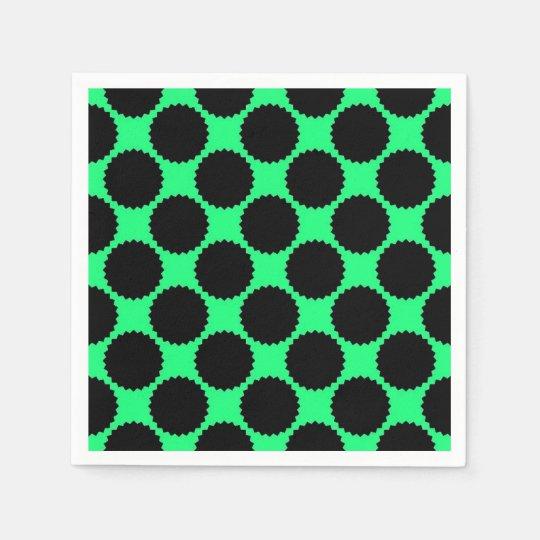 Black Polka Dots On Kiwi Green Disposable Serviettes