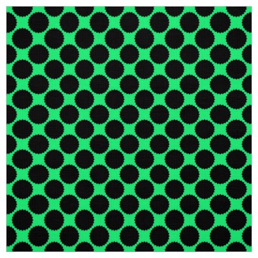 Black Polka Dots On Kiwi Green Fabric