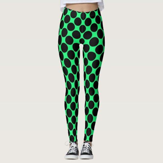 Black Polka Dots On Kiwi Green Leggings