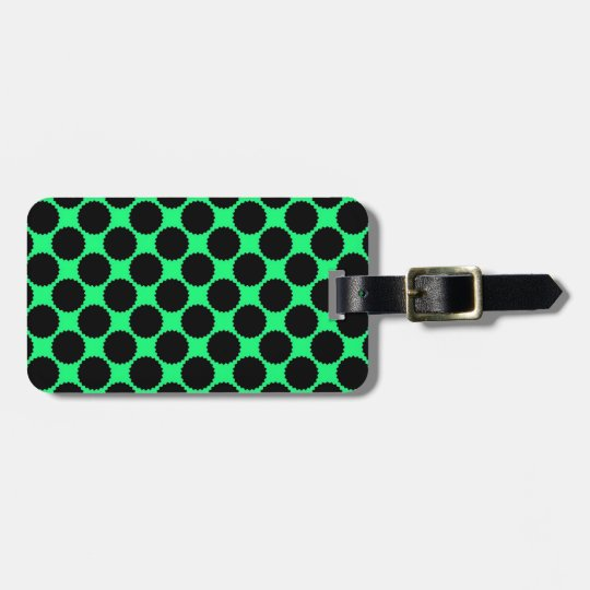 Black Polka Dots On Kiwi Green Luggage Tag