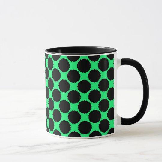 Black Polka Dots On Kiwi Green Mug