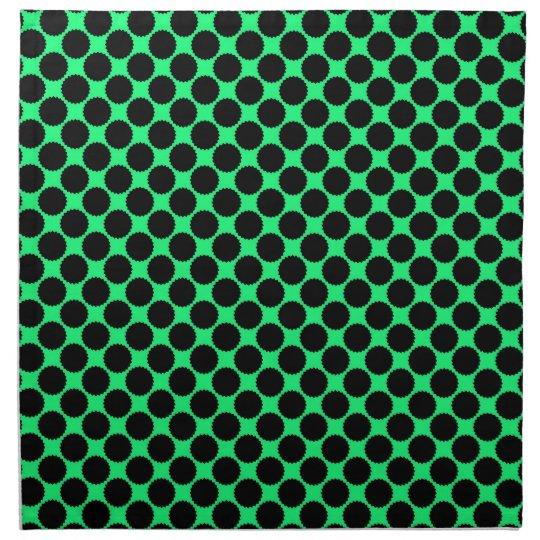 Black Polka Dots On Kiwi Green Napkin