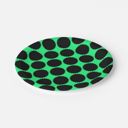 Black Polka Dots On Kiwi Green Paper Plate