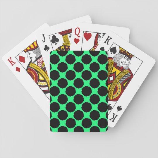 Black Polka Dots On Kiwi Green Playing Cards