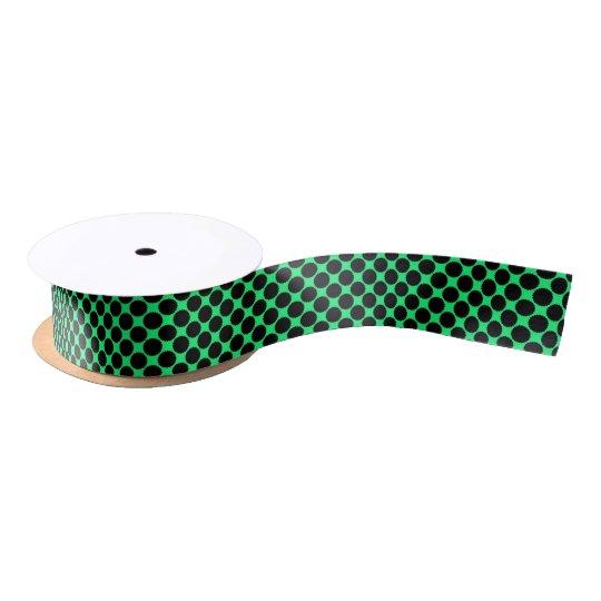 Black Polka Dots On Kiwi Green Satin Ribbon