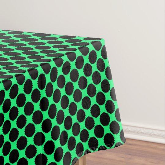 Black Polka Dots On Kiwi Green Tablecloth
