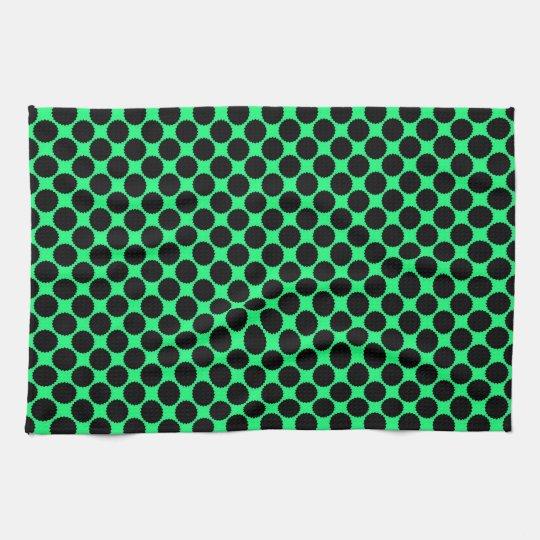Black Polka Dots On Kiwi Green Tea Towel