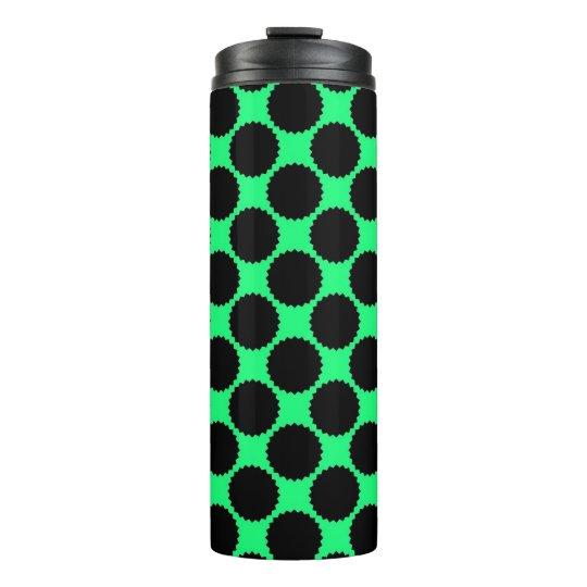 Black Polka Dots On Kiwi Green Thermal Tumbler